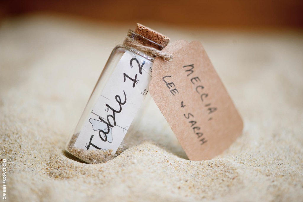 bottle of sand place card